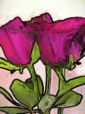 The Roses With The Green Stems And Leaves Art Print