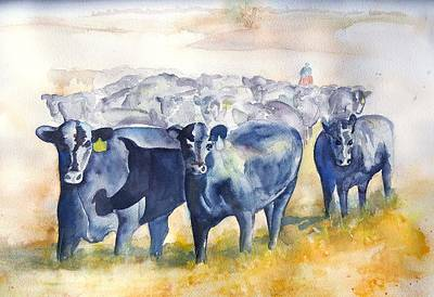 Forelock Painting - The Round Up Cattle Drive  by Sharon Mick