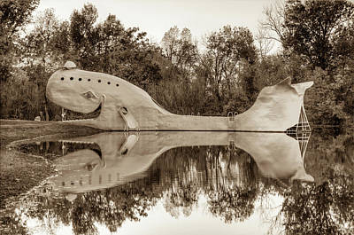 Photograph - The Route 66 Blue Whale - Catoosa Oklahoma - Sepia Edition by Gregory Ballos