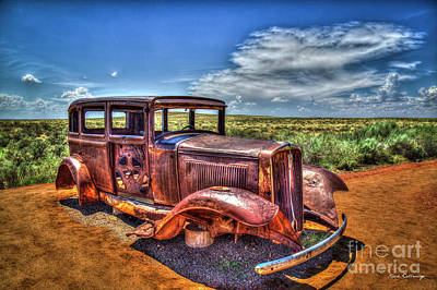 Photograph - The U S Route 66 Marker 1932 Studebaker Petrified Forest National Park Arizona Art by Reid Callaway