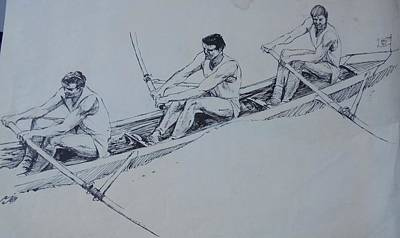 Drawing - The Rowers. by Mike Jeffries