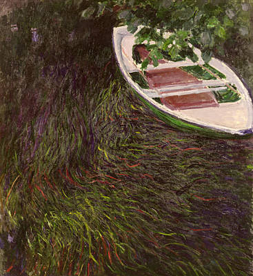 Marsh Scene Painting - The Rowing Boat by Claude Monet