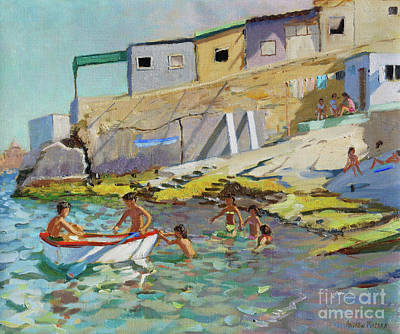 Ashore Painting - The Rowing Boat, Valetta, Malta by Andrew Macara