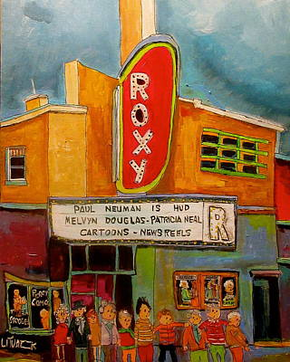 St. Agathe Painting - The Roxy In The Village by Michael Litvack