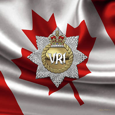 Digital Art - The Royal Canadian Regiment - The  R C R  Cap Badge Over Canadian Flag by Serge Averbukh