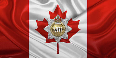Digital Art - The Royal Canadian Regiment - The  R C R  Cap Badge Over Flag Of Canada by Serge Averbukh