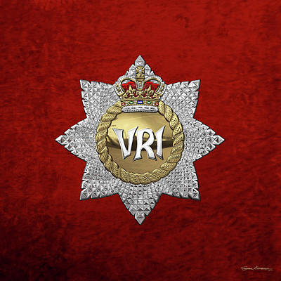 Digital Art - The Royal Canadian Regiment - The  R C R  Cap Badge Over Red Velvet by Serge Averbukh