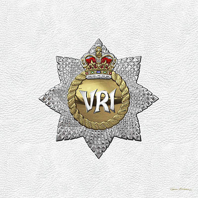 Digital Art - The Royal Canadian Regiment - The  R C R  Cap Badge Over White Leather by Serge Averbukh
