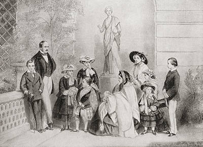 Years Old House Drawing - The Royal Family At Osborne House, Isle by Vintage Design Pics