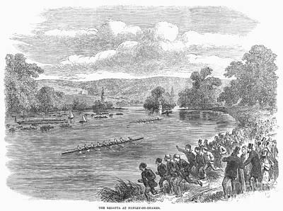The Royal Henley Regatta At Henley-on Thames. Wood Engraving, English, 1869 Art Print