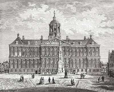 Dam Drawing - The Royal Palace, Dam Square by Vintage Design Pics