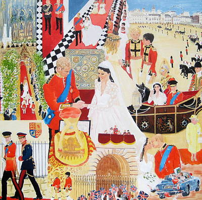 William And Kate Painting - The Royal Wedding by Pat Barker