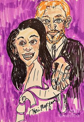 Family Beach Wedding Wall Art - Mixed Media - The Royal Wedding Prince Harry And Meghan Markel by Geraldine Myszenski