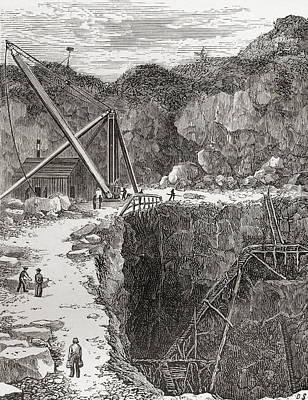 Granite Drawing - The Rubislaw Granite Quarry, Aberdeen by Vintage Design Pics