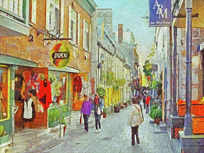 Digital Art - The Rue Du Petit Champlain In Quebec City by Digital Photographic Arts