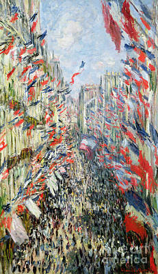 Crowd Scene Painting - The Rue Montorgueil by Claude Monet