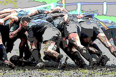 Rugby Mixed Media - The Rugby Player by Charles Shoup