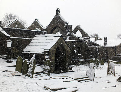 Photograph - The Ruined Medieval Church In Heptonstall With Graveyard In The  by Philip Openshaw