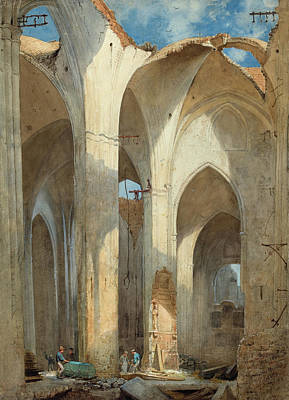 Painting - The Ruins Of Saint Nicolai Church In Hamburg by Martin Gensler