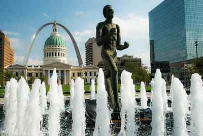 Photograph - The Runner And Fountains - Saint Louis Skyline by Gregory Ballos