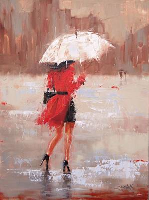 Umbrella Painting - The Rush by Laura Lee Zanghetti