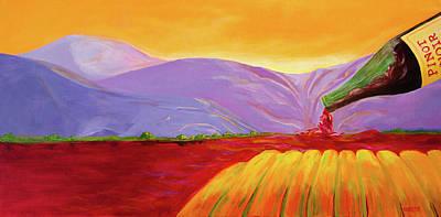 Napa Valley Vineyard Painting - The Rushin' River by Deb Breton