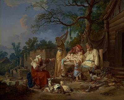 Log Cabin Art Painting - The Russian Cradle by Jean-Baptiste Le Prince