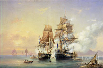 The Russian Cutter Mercury Captures The Swedish Frigate Venus On 21st May 1789 Print by Aleksei Petrovich Bogolyubov