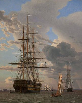 Painting - The Russian Ship Of The Line Asow And A Frigate At Anchor In The Roads Of Elsinore by Christoffer Wilhelm Eckersberg
