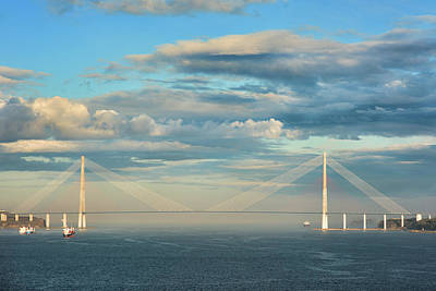 Vladivostok Photograph - The Russky Bridge And Clouds by Mariia Kalinichenko