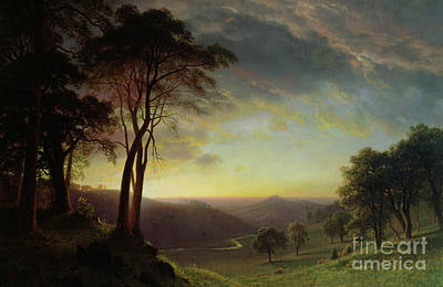 Hills Painting - The Sacramento River Valley  by Albert Bierstadt
