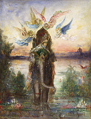 Ancient Indian Art Painting - The Sacred Elephant  by Gustave Moreau