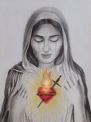 Mother Of Jesus Drawing - The Sacred Heart by Amber Stanford