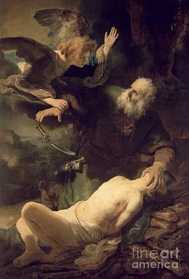 Intervention Painting - The Sacrifice Of Abraham by Rembrandt