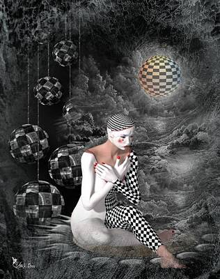 Digital Art - The Sad Pierrot 2 by Ali Oppy