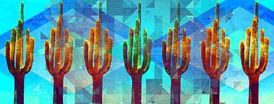 Mixed Media - The Saguaro Seven by Michelle Dallocchio
