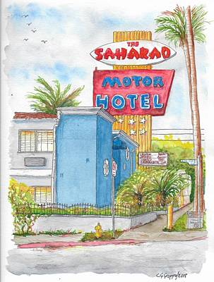 Painting - The Saharan Motor Motel In Hollywood, California by Carlos G Groppa