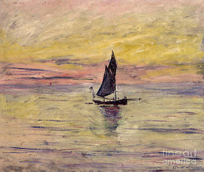 Water Painting - The Sailing Boat Evening Effect by Claude Monet