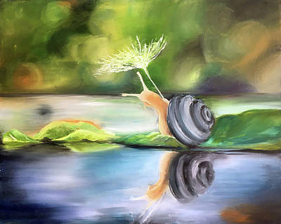 Painting - The Sailing Snail by Ashley Martinez