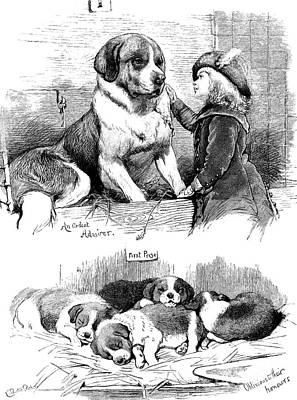 Petting Painting - The Saint Bernard Club Dog Show by Charles Burton Barber