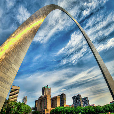 Photograph - The Saint Louis Arch And City Skyline 1x1 by Gregory Ballos
