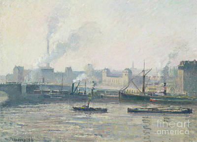 Nineteenth Century Painting - The Saint Sever Bridge, Rouen Mist, 1896  by Camille Pissarro