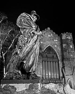 Photograph - The Salem Witch Museum Statue Halloween Weekend Salem Ma Black And White by Toby McGuire