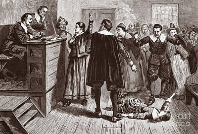 Ma. Drawing - The Salem Witch Trials by American School