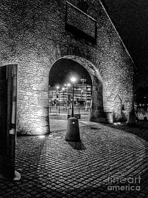 Photograph - The Salthouse Gateway At Night In Monochrome by Joan-Violet Stretch