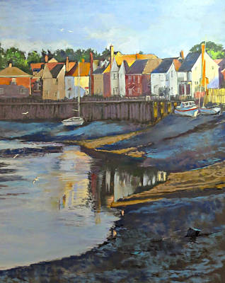Landsape Painting - The Saltwater Village Evening by Angelina Whittaker Cook