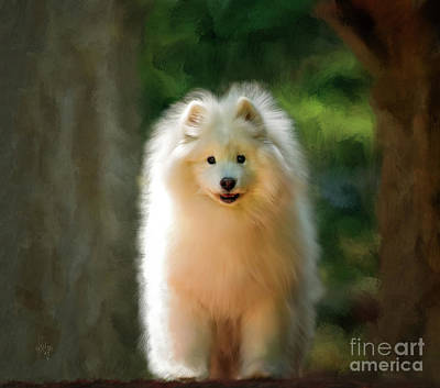 Digital Art - The Samoyed Smile by Lois Bryan