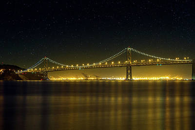The San Francisco Oakland Bay Bridge At Night Art Print