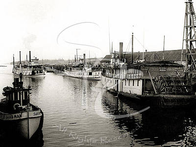 Photograph - The Sandman And Steamers At The City Dock by Asahel Curtis