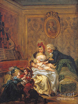 Breastfeeding Painting - The Satisfaction Of Marriage Or, The Happy Family by Francois Louis Joseph Watteau
